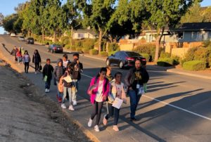 Solano Widenmann students participating in International Walk to School Day, October 2019